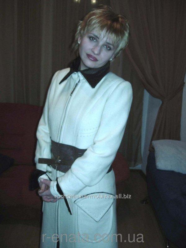 Купить Пальто из белого кашемира с мехом под заказ