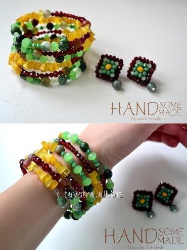 """Купить Набір: браслет """"змійка"""" та сережки соковитих кольорів by HandsomeHandmade"""