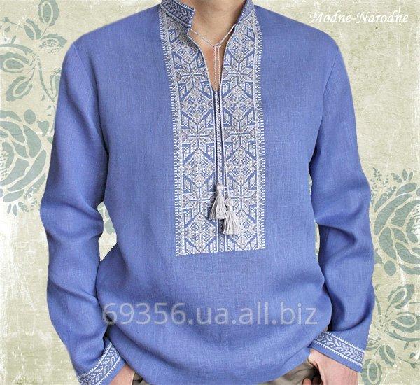 3a0597694f0157 Сорочка з ручною вишивкою Синій льон купити в Київ
