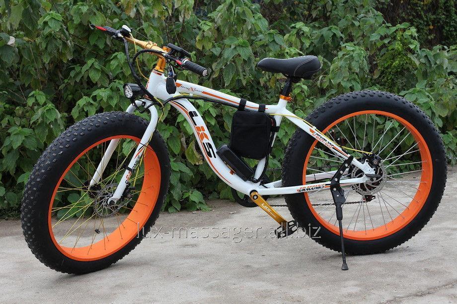 Электровелосипед LKS Fatbike Бело-оранжевый Electro Rear Drive