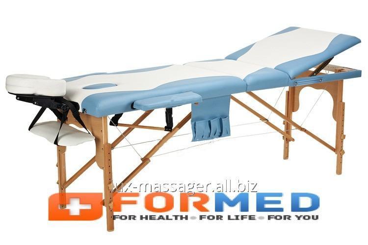 Стол массажный деревянный 3 сегментный двухцветный, арт. F3648