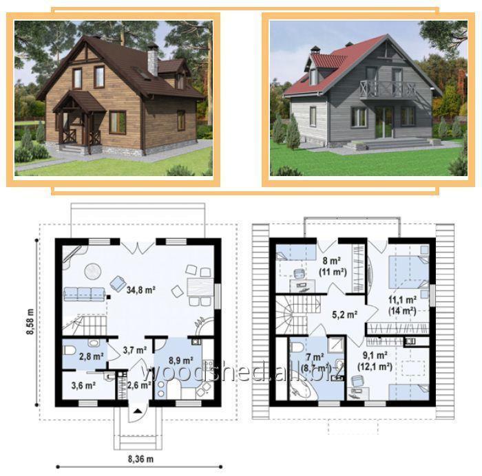Коробка дома c мансардным этажом, общей площадью - 165,0 м²