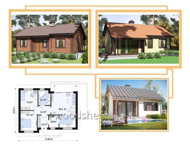 Коробка одноэтажного дома, общей площадью - 108,0 м²