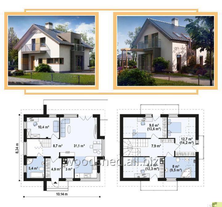 Коробка двухэтажного дома, общей площадью - 180,0 м²