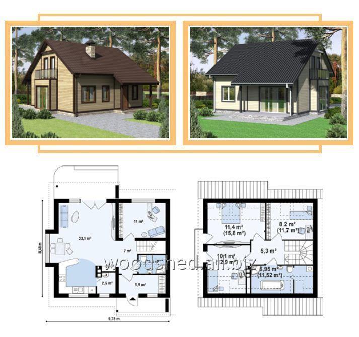 Коробка дома с мансардным этажом, общей площадью - 175,0 м²