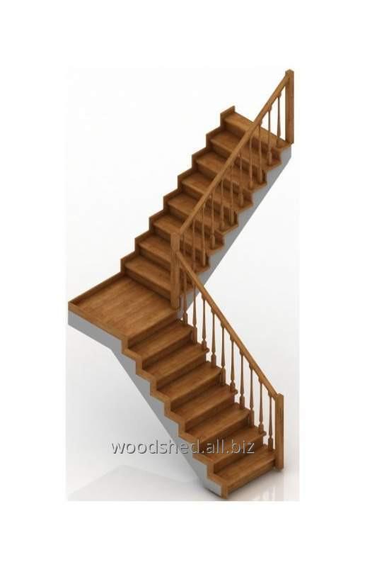 Лестница на черновом металлокаркасе без метал-са площадка 90°