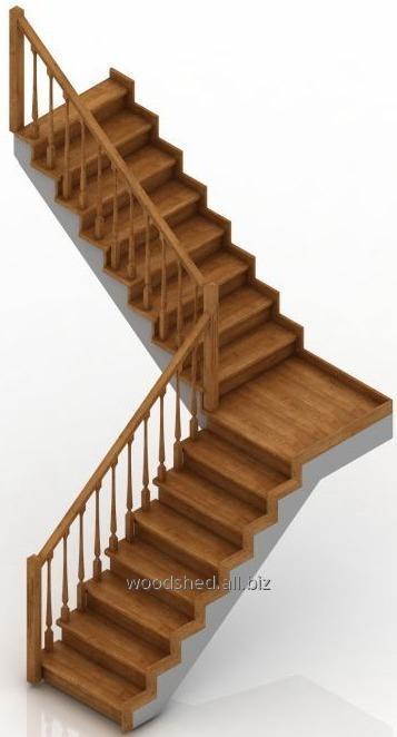 Лестница на бетонном основании без бетона, площадка 90°