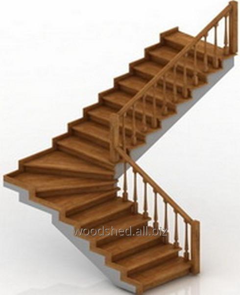 Лестница на черновом металлокаркасе без метал-са, забег 90°