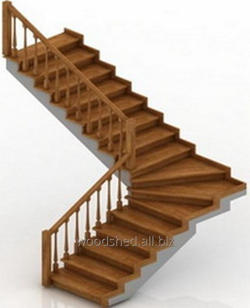 Лестница на бетонном основании без бетона, забег 90°
