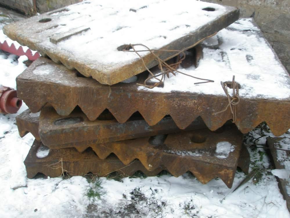 Плиты и футеровки для щековых дробилок,с механической оброботкой