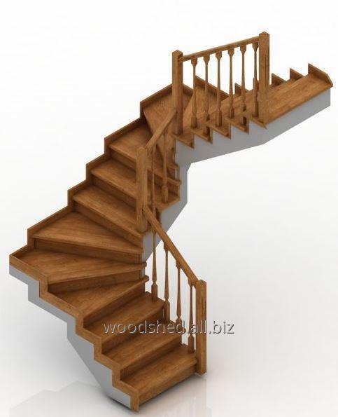 Лестница на бетонном основании без бетона забег 180°