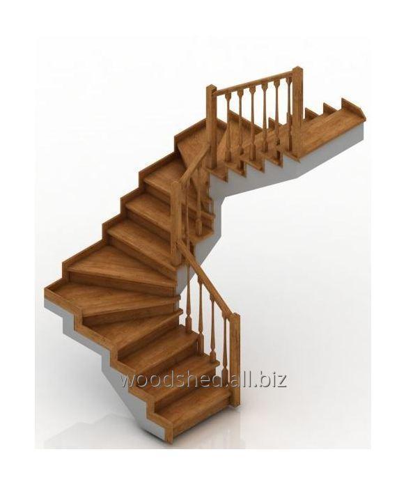 Лестница на черновом металлокаркасе без метал-са забег 180°