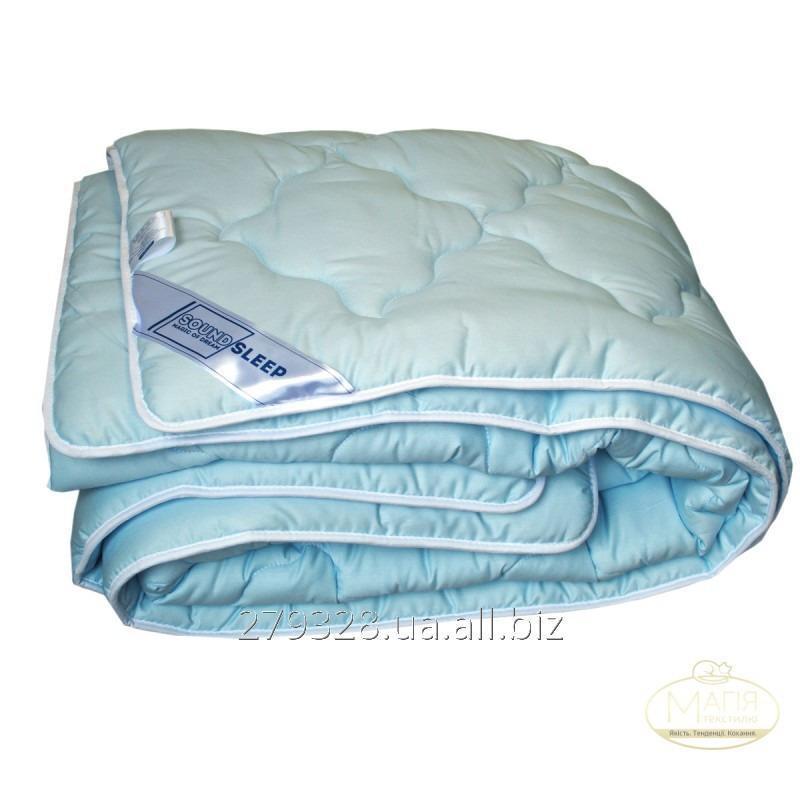 Шерстяное одеяло в сатине SoundSleep Color Dreams голубое, код: 110705