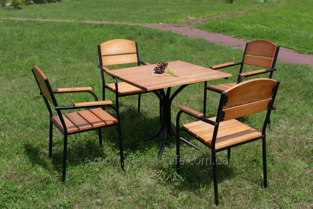 Комплект мебели Микс черный металл, светлое дерево  KIT-Mix-BL