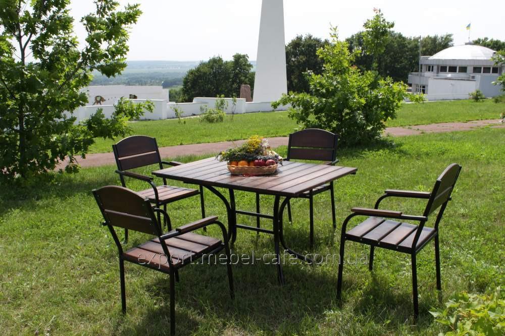 Комплект мебели Премиум черный металл, темное дерево  KIT-Premium-BD