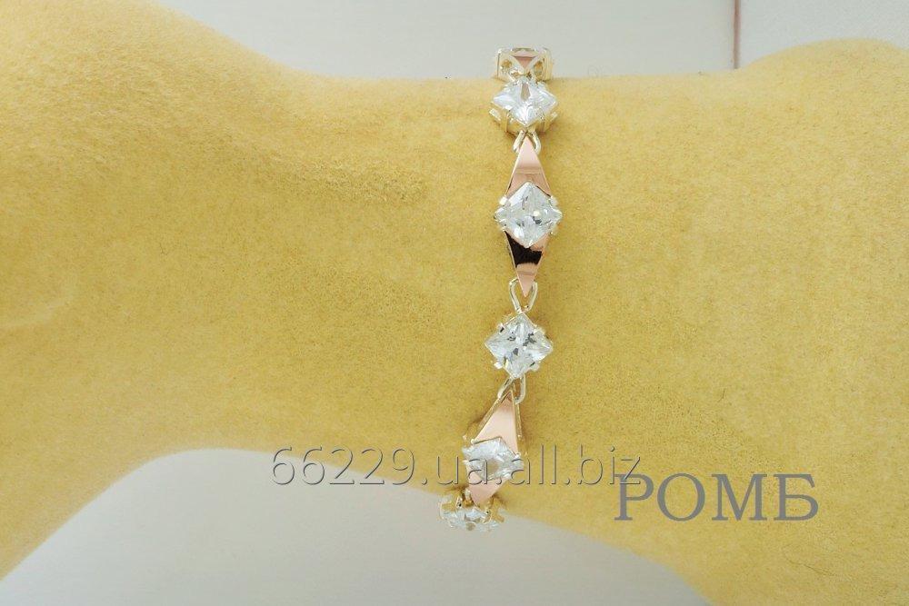Серебрянный браслет на руку Ромб
