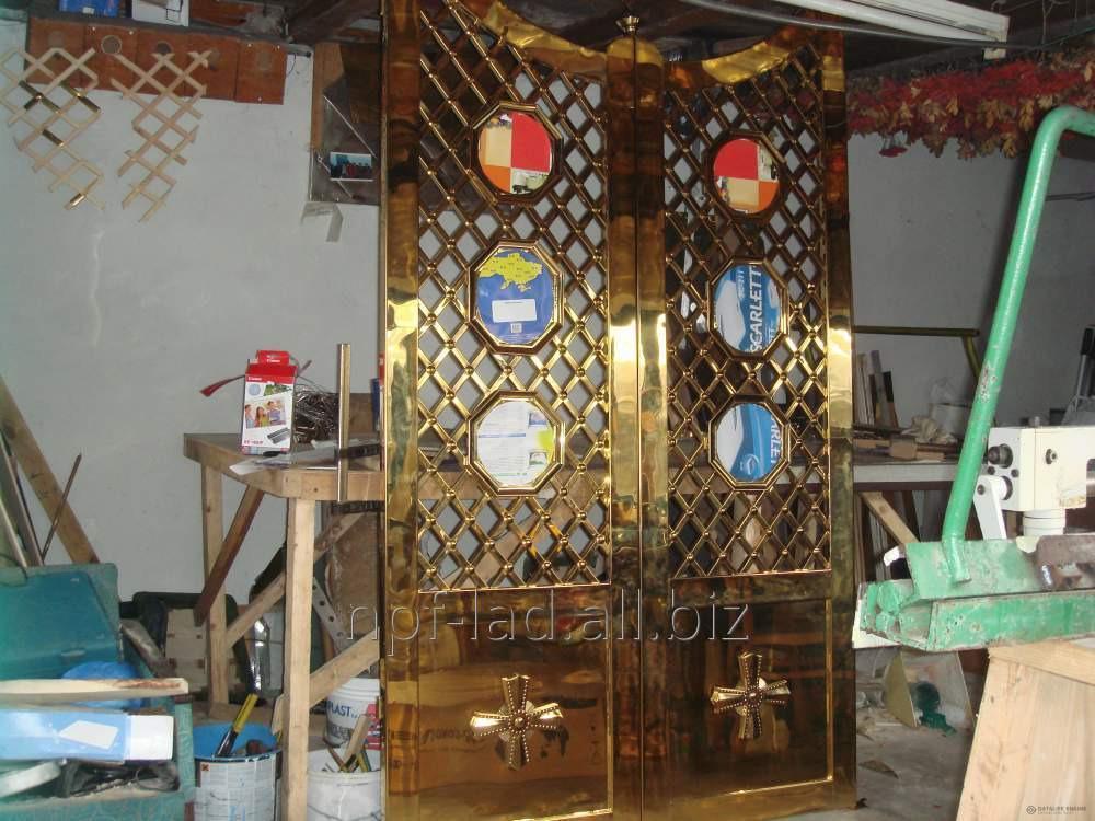 Дверь церковная, двери в алтарь, церковный декор под золото