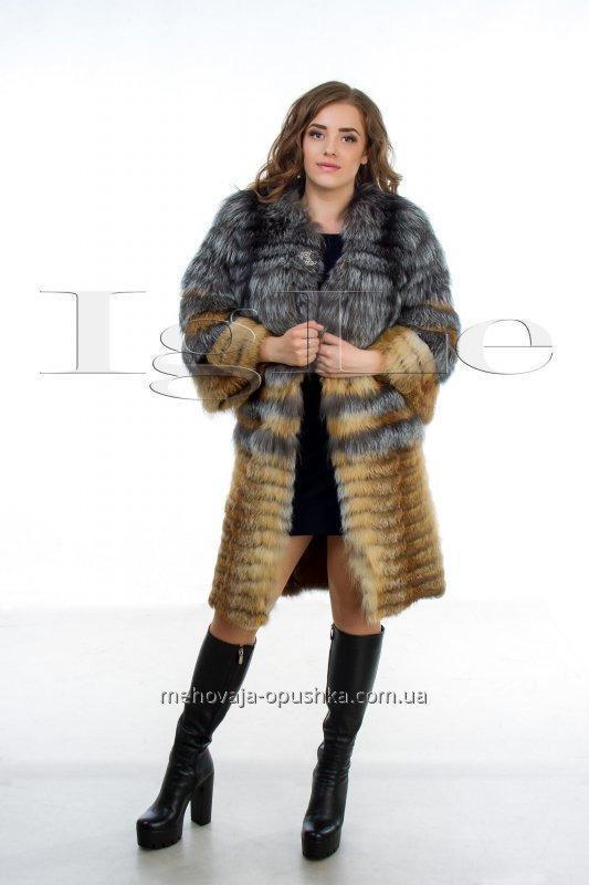 Шуба из натурального меха чернобурки и лисы ЖЧЛ 001374