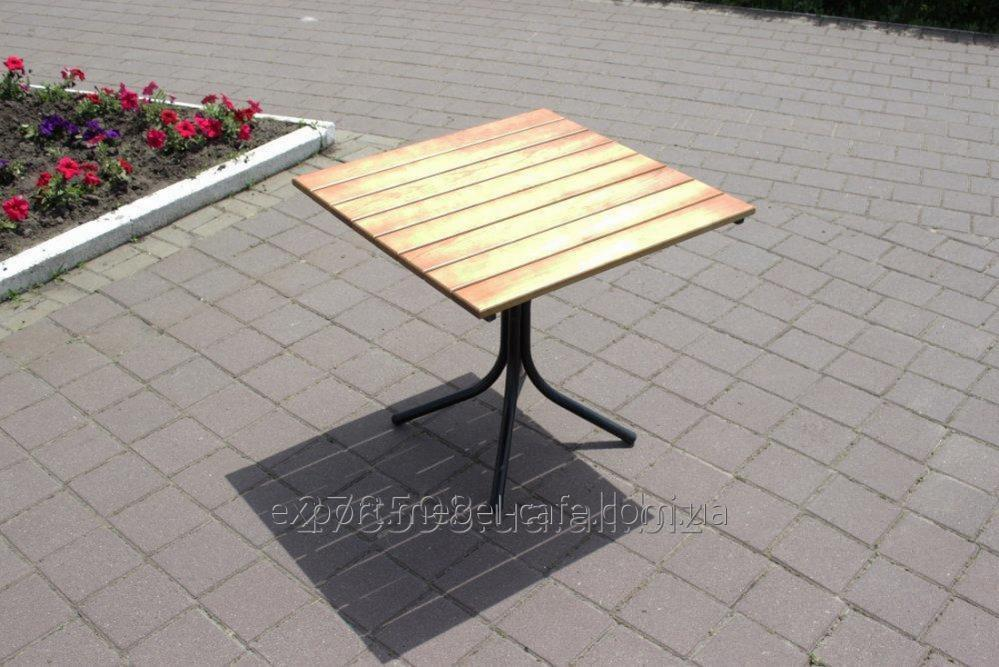 Стол Классический T-Classic-BL черный металл, светлое дерево