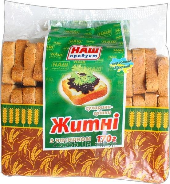 Купить Сухарики-гренки ржаные с чесноком Код 2404090
