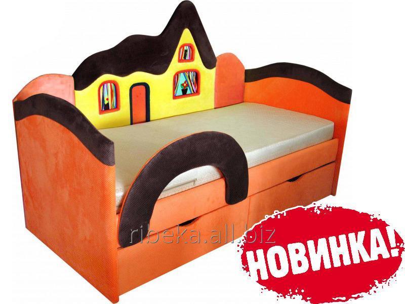 Детская кроватка Домик оранжевый