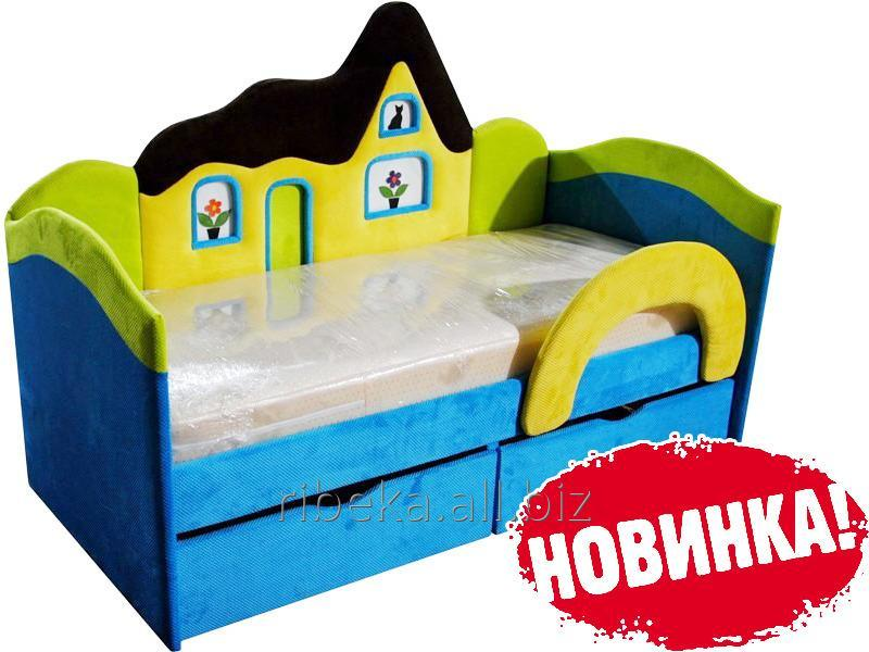 Детская кроватка Домик голубой