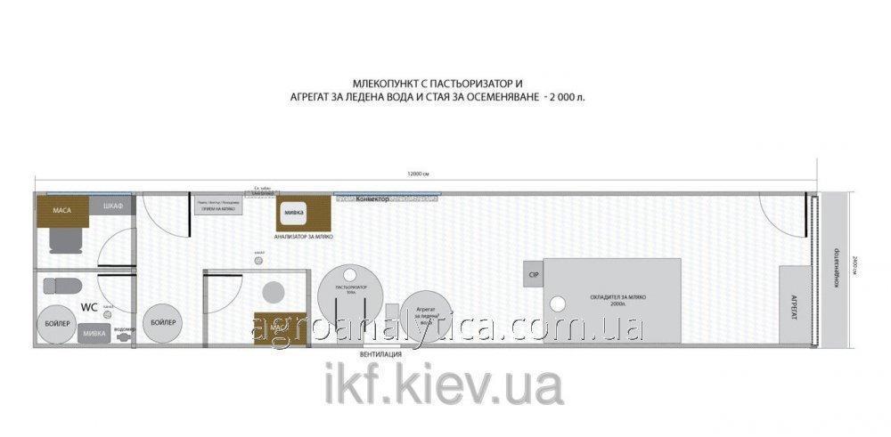 Мобильный молокоприемный пункт с помещением для искуственного осеменения