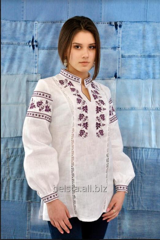 Вышиванка женская на белом льне