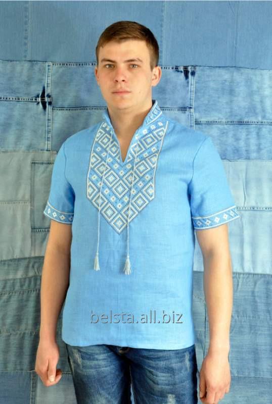 Вышиванка мужская на голубом льне