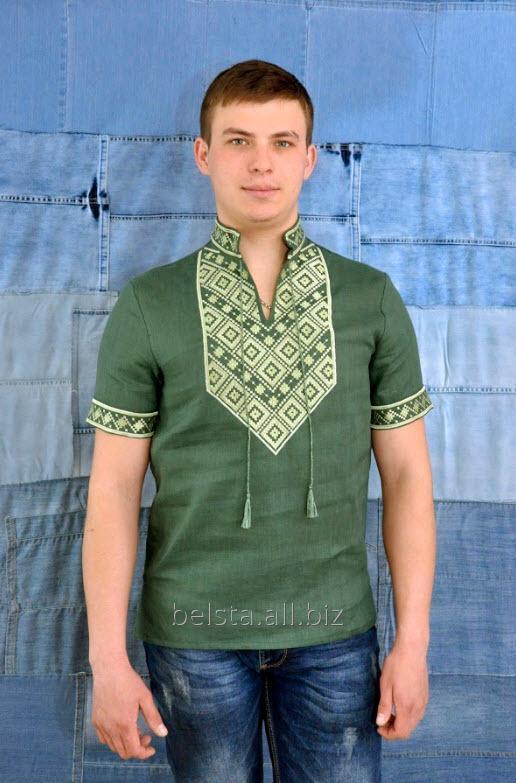 Купить Вишиванка чоловіча зеленого кольору