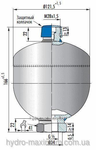 Купить Мембранный гидроаккумулятор 0,75л 210 бар