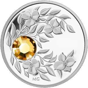 Серебряная монета с кристаллом Топаз