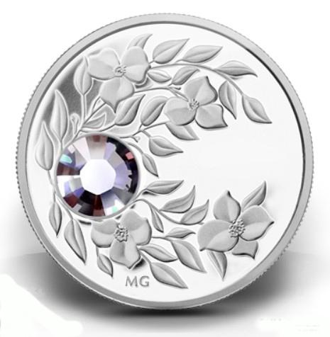 Серебряная монета с кристаллом Александрит