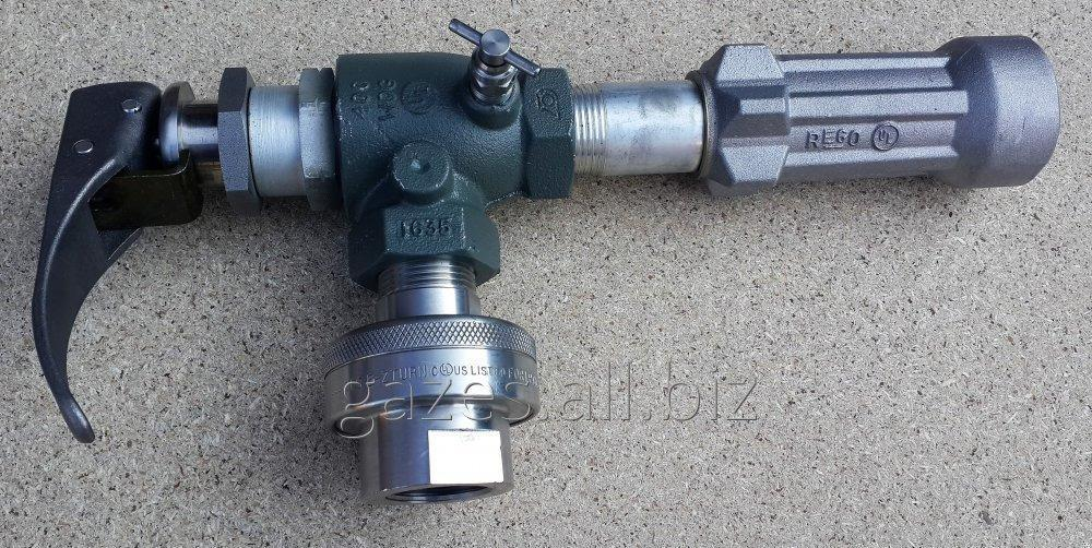 Струбцина  REGO  A7708L + 7575L4, поворотное соединение, для газовозов, слива пропан-бутана, налива АГЗС, СУГ, LPG, сжиженного газа, кран заправочный для автоцистерн