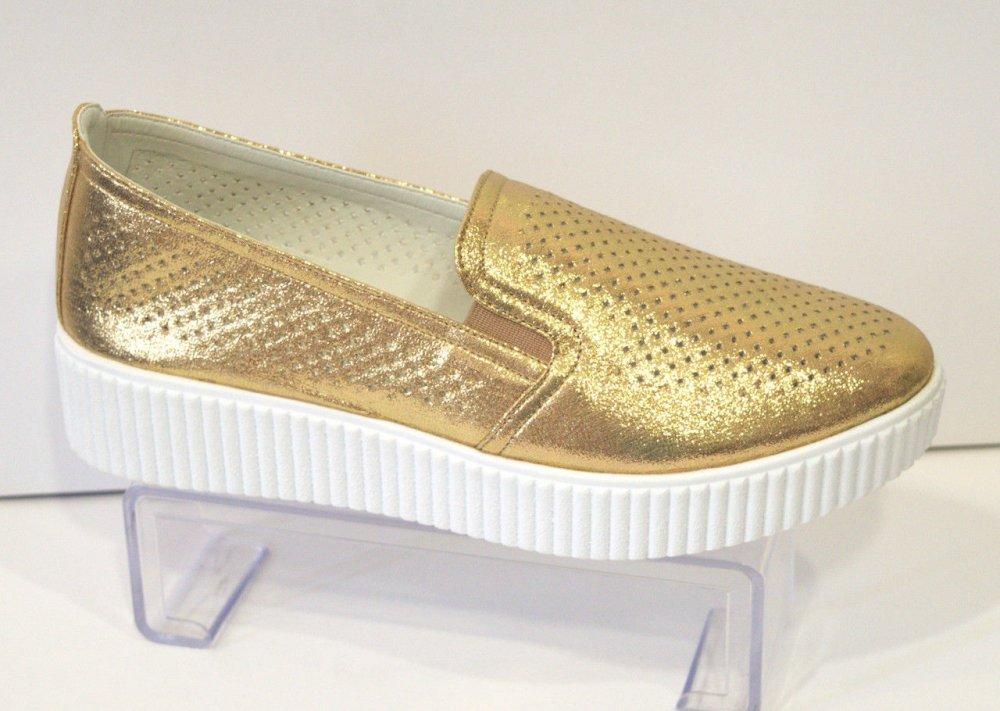 Купить Слипоны женские золотые El Passo 1428