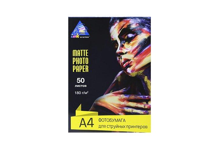 Матовая фотобумага INKSYSTEM Matte Photo Paper 180g, A4, 50 листов
