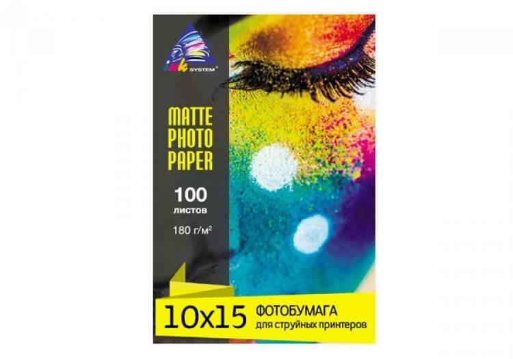 Матовая фотобумага INKSYSTEM Matte Photo Paper 180g, 10x15, 100 листов