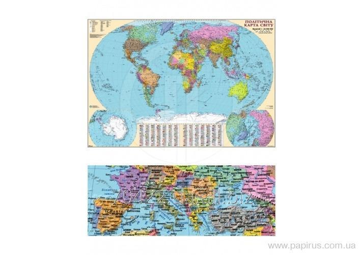 Купить Карта Политическая карта Мира М1:32 000 000, 110х77 см /ламинация/планки/картон