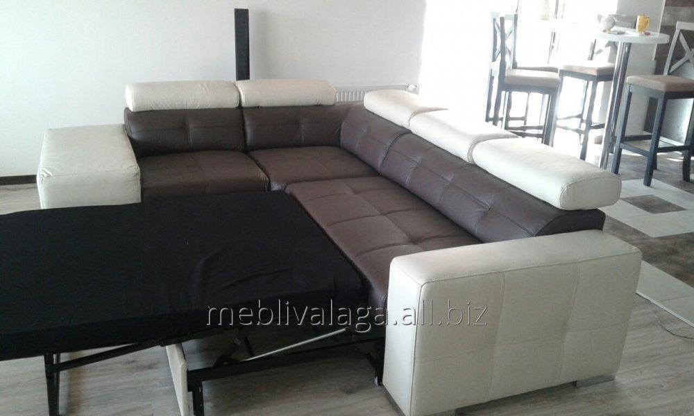 Купить Кожаный угловой диван, кожаный уголок,раскладной диван