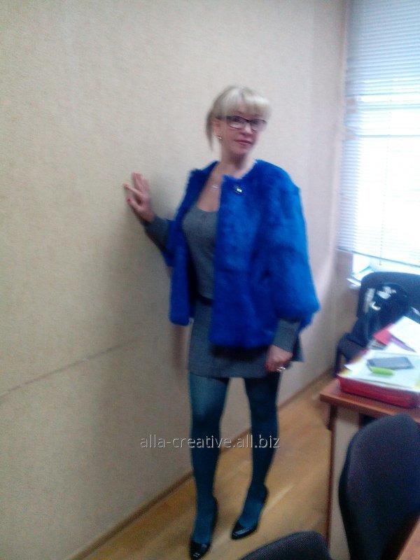 Купить Жакет из меха кролика, синий цвет. Код М25
