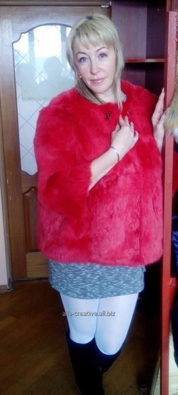 Купить Жакет из натурального цельного меха кролика, крашеный, М26