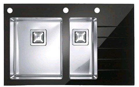 Купить Кухонная мойка Alveus Cristalix 20L (860x540x200 1+1/2) black + дозатор, коландер (1099641)