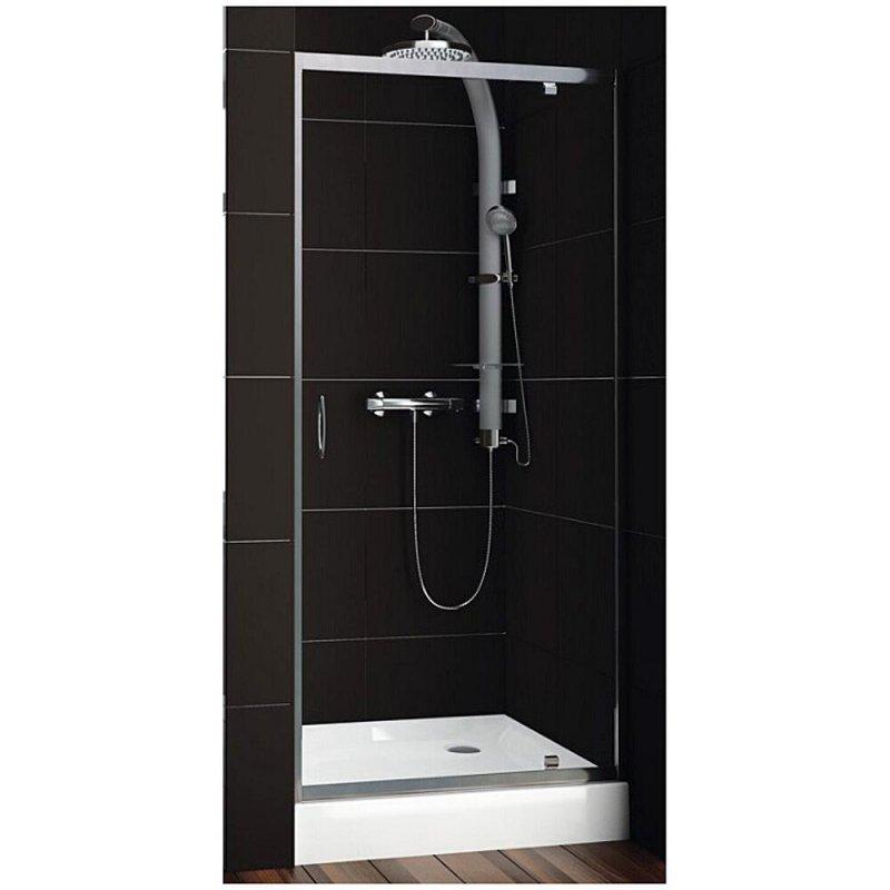 Купить Душевая дверь Aquaform NIGRA 90 распашная в нишу/со стенкою, прозрачная (103-092111)