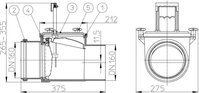 Механический магистральный канализационный затвор из ABS, DN160мм, HL715.1