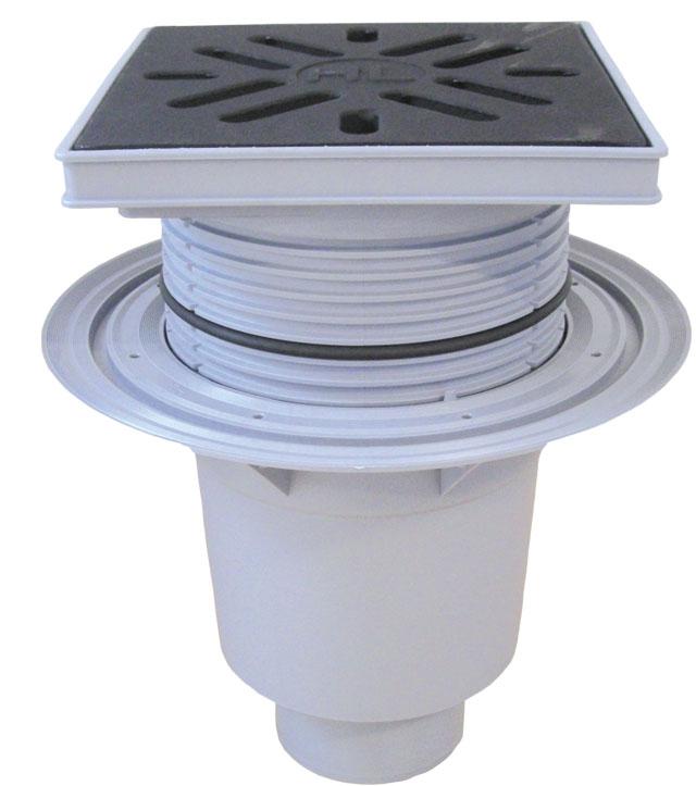Дворовой трап ПП с чугунной решеткой, полипропилен 240*240мм, DN110/160 мм HL616