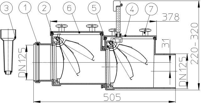 Купити Механічний магістральний каналізаційний затвор з ABS, DN125мм, HL712.2