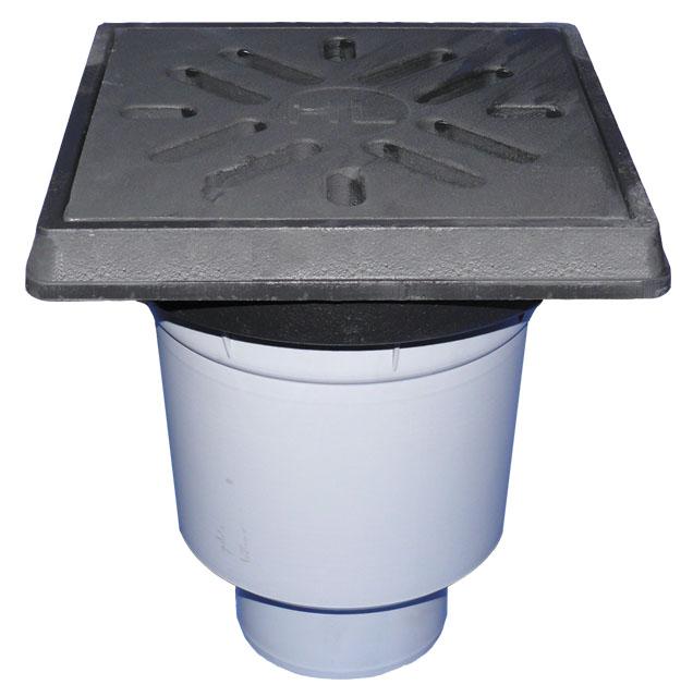 Дворовой трап ПП с чугунной решеткой, подрамник чугун 260*260мм, DN160 мм HL606.1