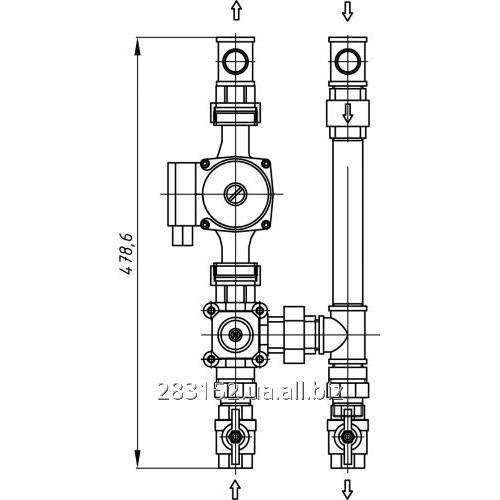 Насосна група Т.П. з 3-х ходовим зміш. ГКС-33.125 (без насоса) Жовта--ВГОРУ (шт.) 6733