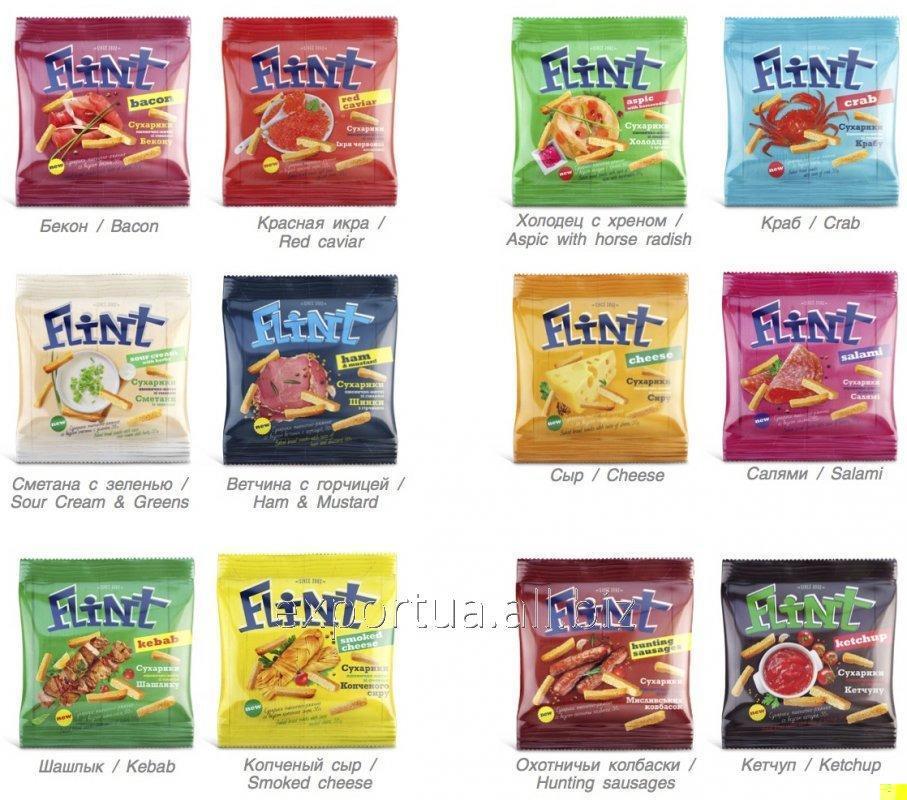 Acheter Croûtons de blé TM Flint Max, la crème sure et oignon 100g