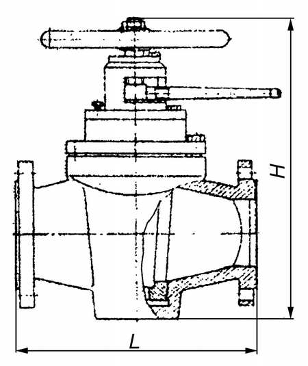 Кран корковий прохідний чепцевий 11год16бк  Ду100 Ру16
